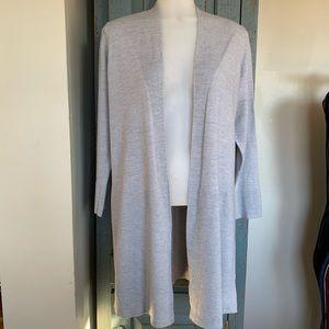 Gorgeous Talbots Gray Merino Wool Long Cardigan Lg